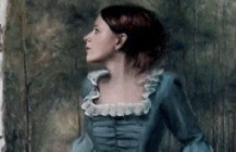 The lady in the blue dress
