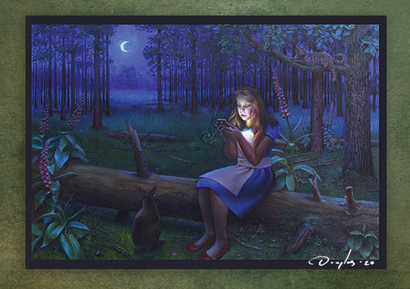 a4 signed art poster with the painting Alice in Wonderlight by Daniel Douglas